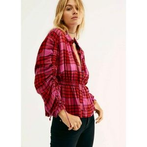 Free People Pacific Dawn Plaid Shirt